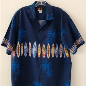 Ali'i Fashions Hawaiian Shirt Blue Size XL
